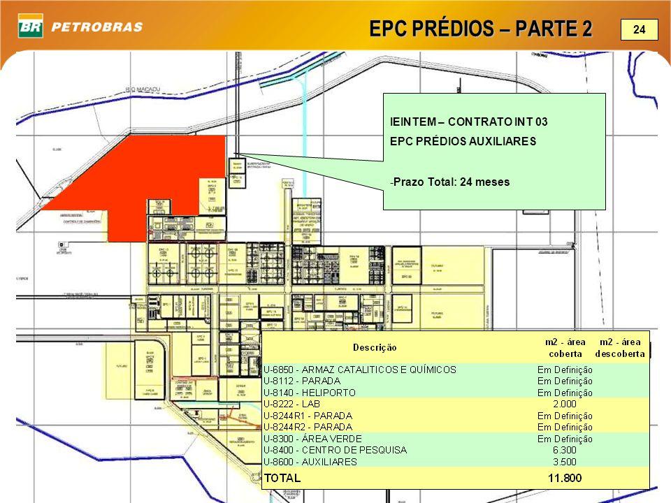 EPC PRÉDIOS – PARTE 2 IEINTEM – CONTRATO INT 03 EPC PRÉDIOS AUXILIARES -Prazo Total: 24 meses 24