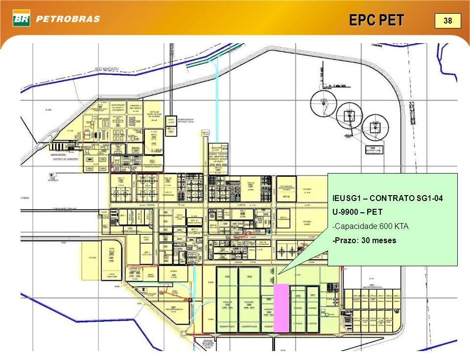 EPC PET IEUSG1 – CONTRATO SG1-04 U-9900 – PET -Capacidade:600 KTA -Prazo: 30 meses 38