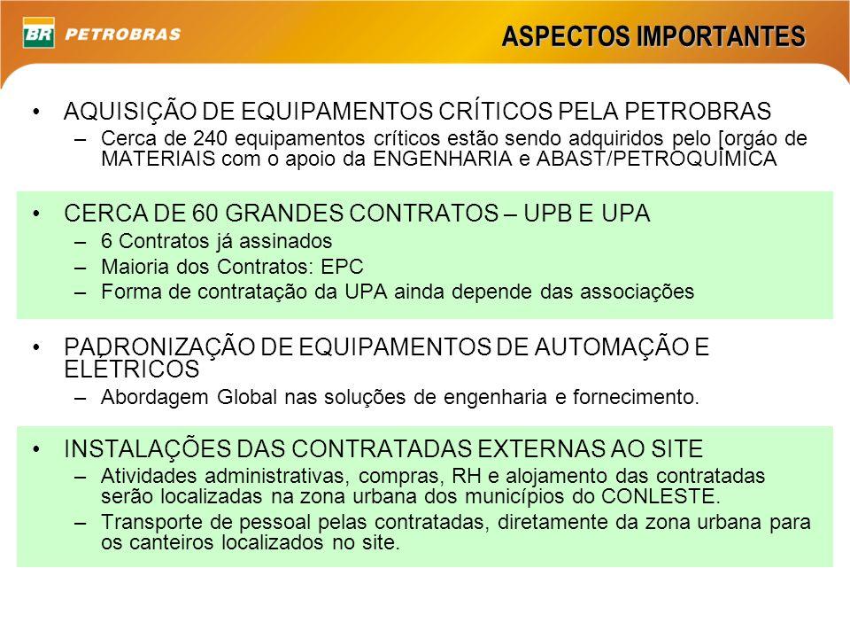 ASPECTOS IMPORTANTES AQUISIÇÃO DE EQUIPAMENTOS CRÍTICOS PELA PETROBRAS –Cerca de 240 equipamentos críticos estão sendo adquiridos pelo [orgáo de MATER