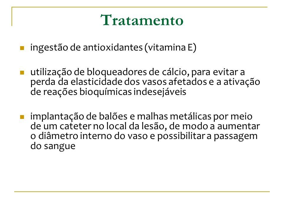 Tratamento ingestão de antioxidantes (vitamina E) utilização de bloqueadores de cálcio, para evitar a perda da elasticidade dos vasos afetados e a ati