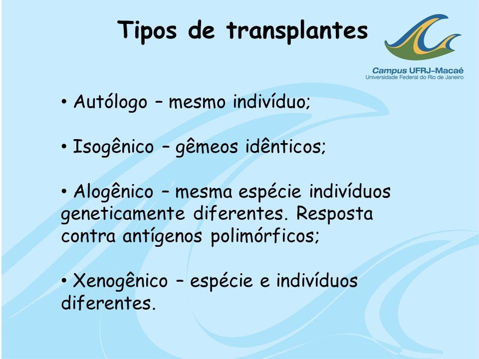 Tipos de transplantes Autólogo – mesmo indivíduo; Isogênico – gêmeos idênticos; Alogênico – mesma espécie indivíduos geneticamente diferentes. Respost