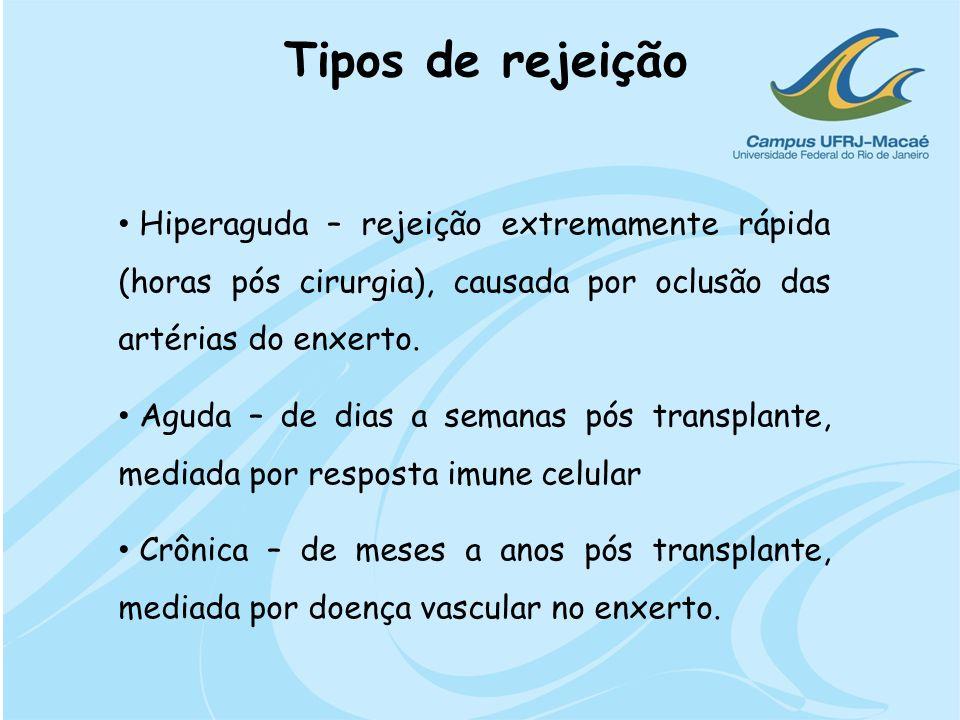 Hiperaguda – rejeição extremamente rápida (horas pós cirurgia), causada por oclusão das artérias do enxerto. Aguda – de dias a semanas pós transplante