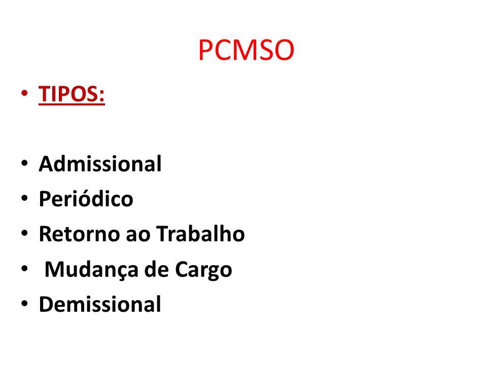 PCMSO É o conjunto de informações relativas aos aspectos físicos, biológicos e ergonômicos que orientam o profissional de saúde das organização na busca de soluções para minimizar os problemas detectados.