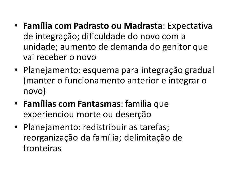 Família com Padrasto ou Madrasta: Expectativa de integração; dificuldade do novo com a unidade; aumento de demanda do genitor que vai receber o novo P