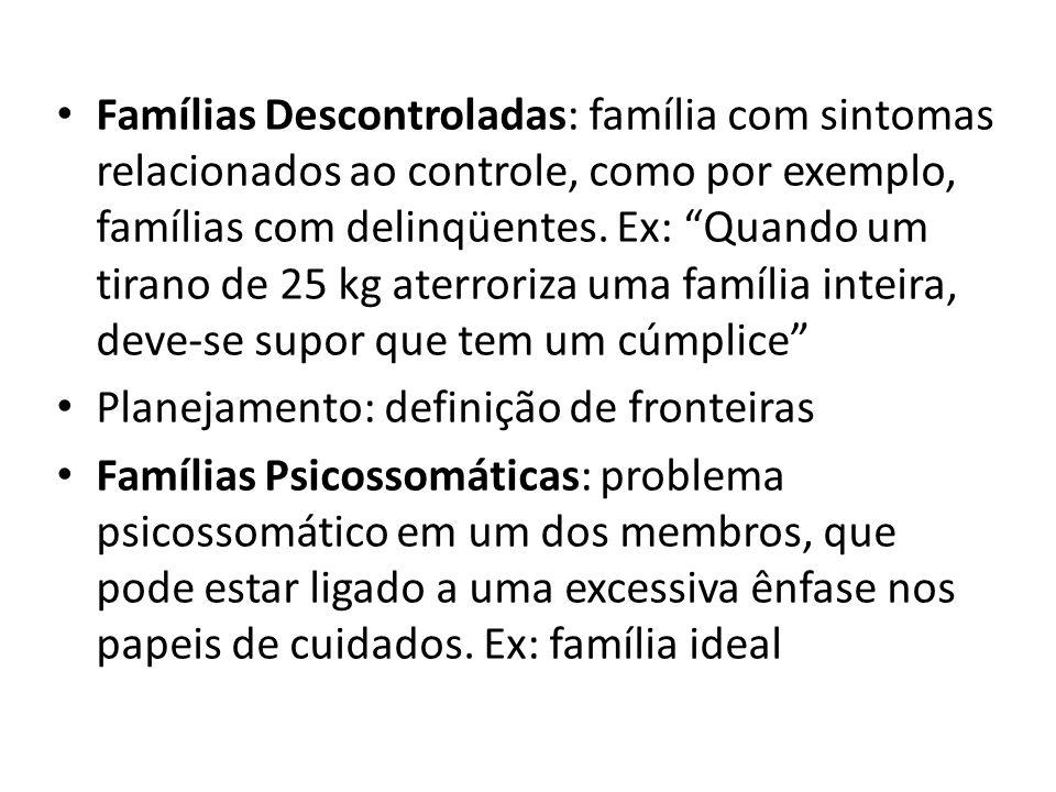 Famílias Descontroladas: família com sintomas relacionados ao controle, como por exemplo, famílias com delinqüentes. Ex: Quando um tirano de 25 kg ate