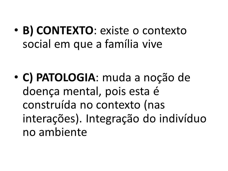 B) CONTEXTO: existe o contexto social em que a família vive C) PATOLOGIA: muda a noção de doença mental, pois esta é construída no contexto (nas inter