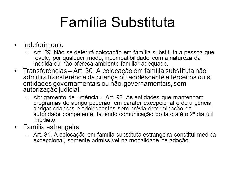 Família Substituta Indeferimento –Art. 29. Não se deferirá colocação em família substituta a pessoa que revele, por qualquer modo, incompatibilidade c