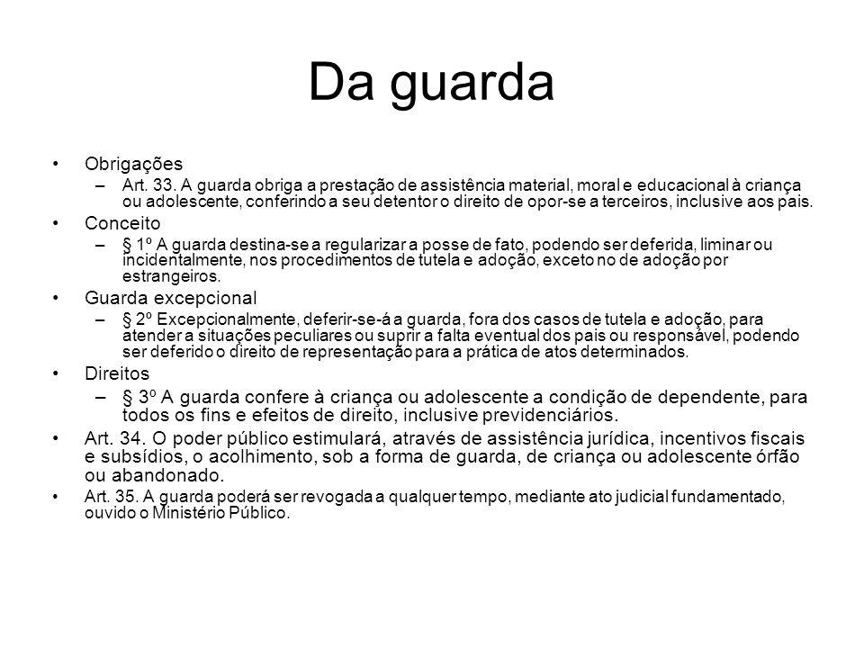 Da guarda Obrigações –Art. 33. A guarda obriga a prestação de assistência material, moral e educacional à criança ou adolescente, conferindo a seu det