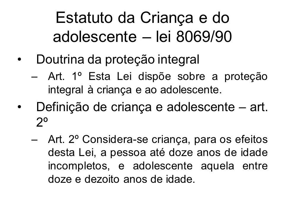 Estatuto da Criança e do adolescente – lei 8069/90 Doutrina da proteção integral –Art. 1º Esta Lei dispõe sobre a proteção integral à criança e ao ado