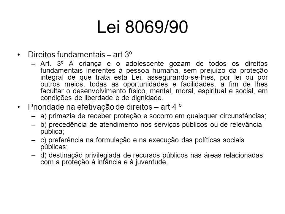 Lei 8069/90 Direitos fundamentais – art 3º –Art. 3º A criança e o adolescente gozam de todos os direitos fundamentais inerentes à pessoa humana, sem p