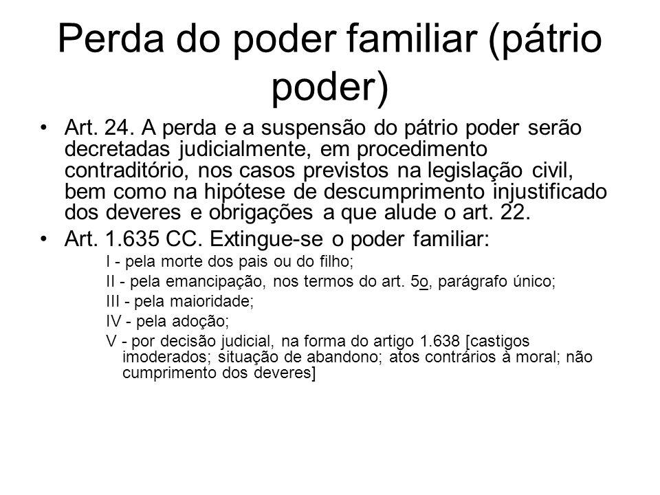 Perda do poder familiar (pátrio poder) Art. 24. A perda e a suspensão do pátrio poder serão decretadas judicialmente, em procedimento contraditório, n