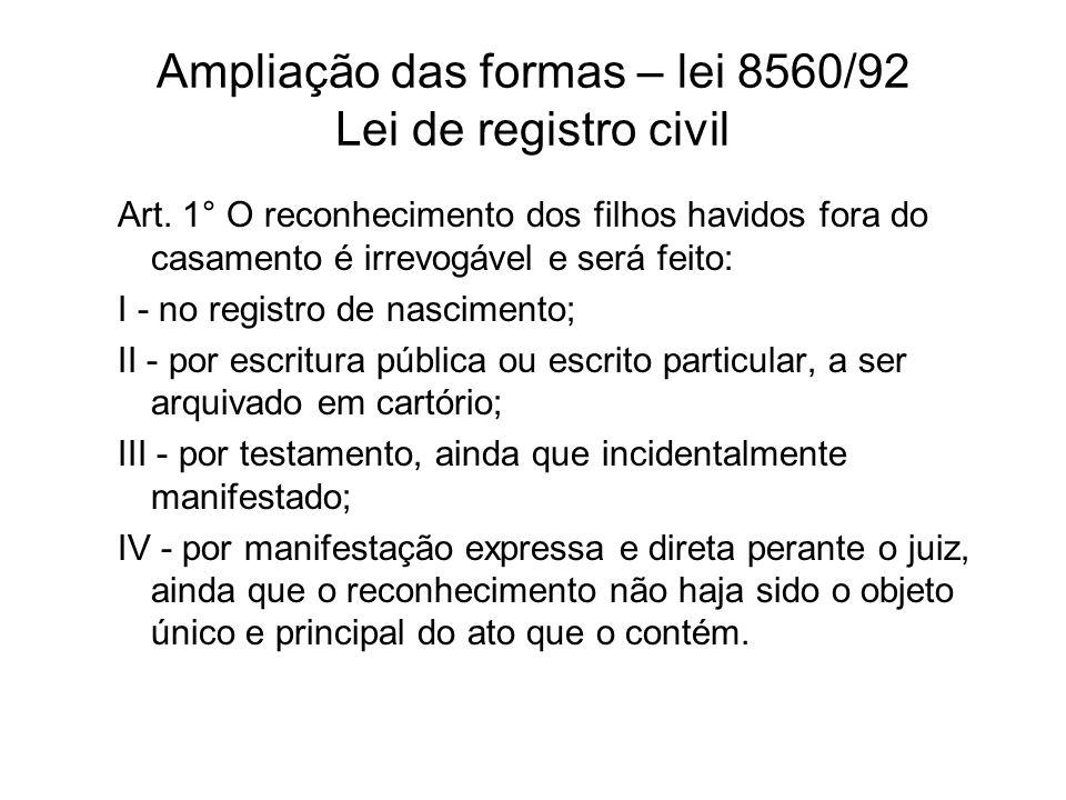 Ampliação das formas – lei 8560/92 Lei de registro civil Art. 1° O reconhecimento dos filhos havidos fora do casamento é irrevogável e será feito: I -