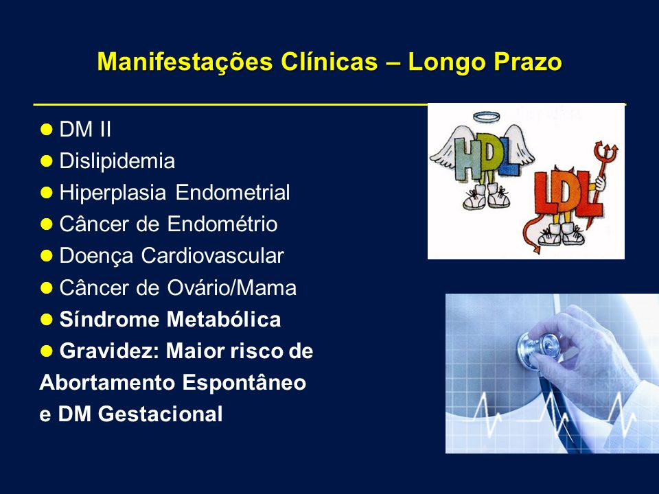 Manifestações Clínicas – Longo Prazo DM II Dislipidemia Hiperplasia Endometrial Câncer de Endométrio Doença Cardiovascular Câncer de Ovário/Mama Síndrome Metabólica Gravidez: Maior risco de Abortamento Espontâneo e DM Gestacional