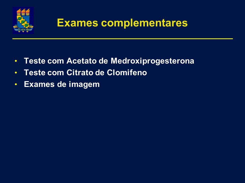 Exames complementares Teste com Acetato de Medroxiprogesterona Teste com Citrato de Clomifeno Exames de imagem