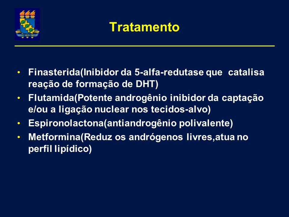 Tratamento Finasterida(Inibidor da 5-alfa-redutase que catalisa reação de formação de DHT) Flutamida(Potente androgênio inibidor da captação e/ou a ligação nuclear nos tecidos-alvo) Espironolactona(antiandrogênio polivalente) Metformina(Reduz os andrógenos livres,atua no perfil lipídico)