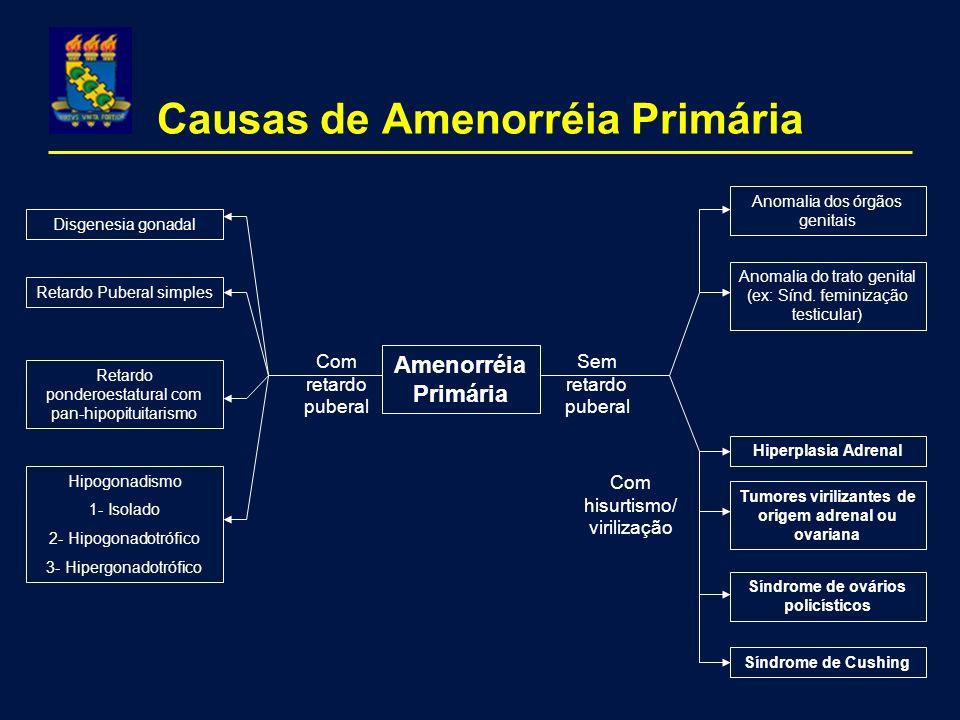 Causas de Amenorréia Primária Amenorréia Primária Com retardo puberal Retardo ponderoestatural com pan-hipopituitarismo Hipogonadismo 1- Isolado 2- Hi