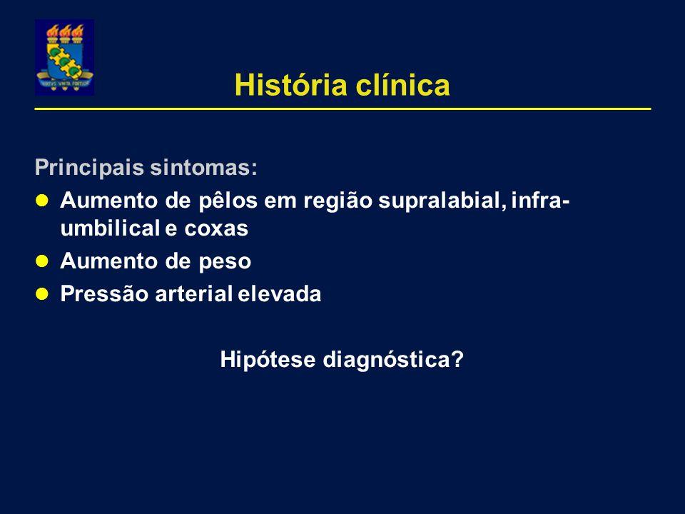 História clínica Principais sintomas: Aumento de pêlos em região supralabial, infra- umbilical e coxas Aumento de peso Pressão arterial elevada Hipóte
