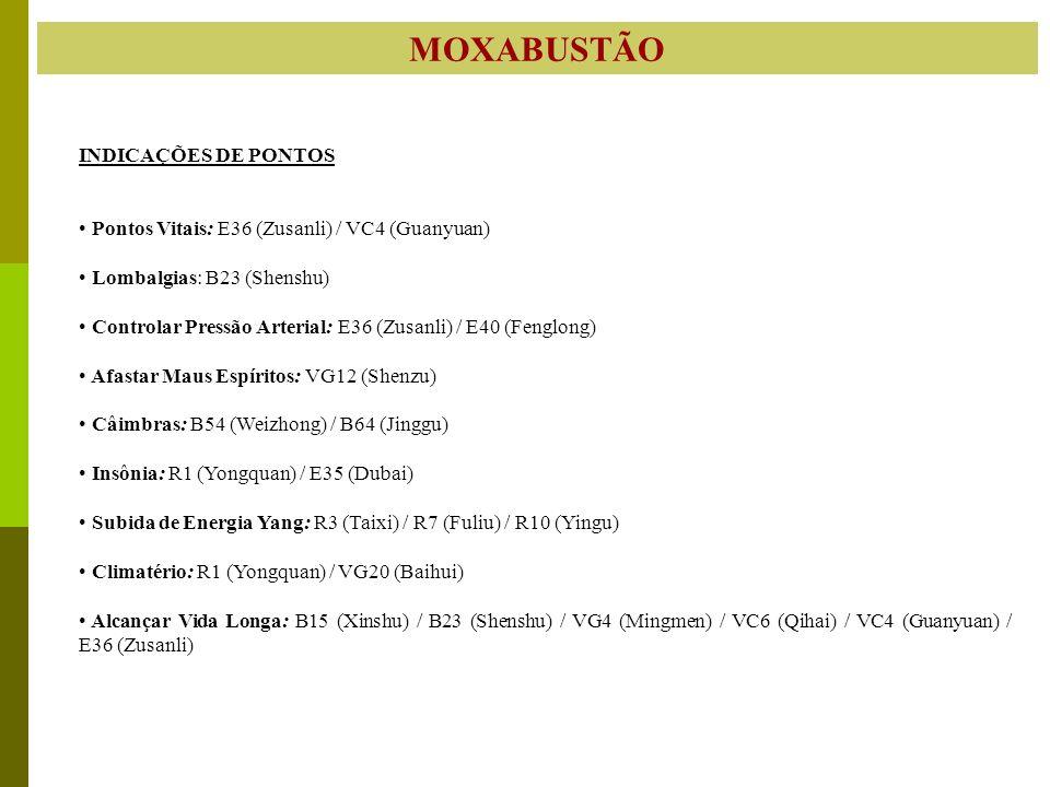 MOXABUSTÃO INDICAÇÕES DE PONTOS Pontos Vitais: E36 (Zusanli) / VC4 (Guanyuan) Lombalgias: B23 (Shenshu) Controlar Pressão Arterial: E36 (Zusanli) / E4