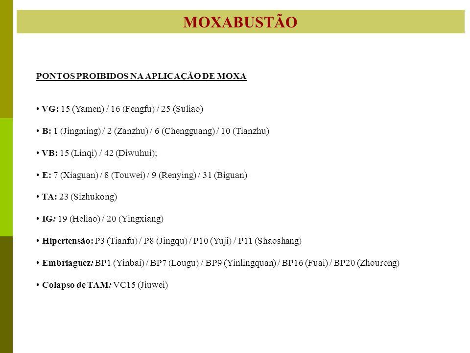 MOXABUSTÃO PONTOS PROIBIDOS NA APLICAÇÃO DE MOXA VG: 15 (Yamen) / 16 (Fengfu) / 25 (Suliao) B: 1 (Jingming) / 2 (Zanzhu) / 6 (Chengguang) / 10 (Tianzh