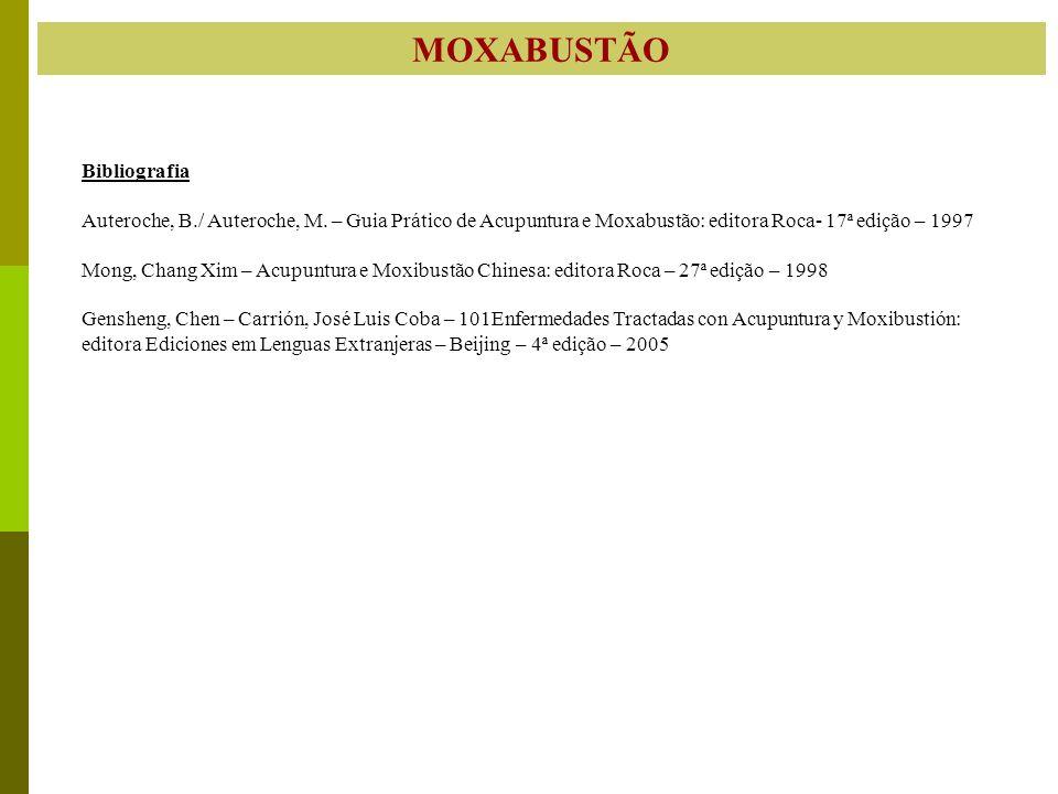 MOXABUSTÃO Bibliografia Auteroche, B./ Auteroche, M. – Guia Prático de Acupuntura e Moxabustão: editora Roca- 17ª edição – 1997 Mong, Chang Xim – Acup