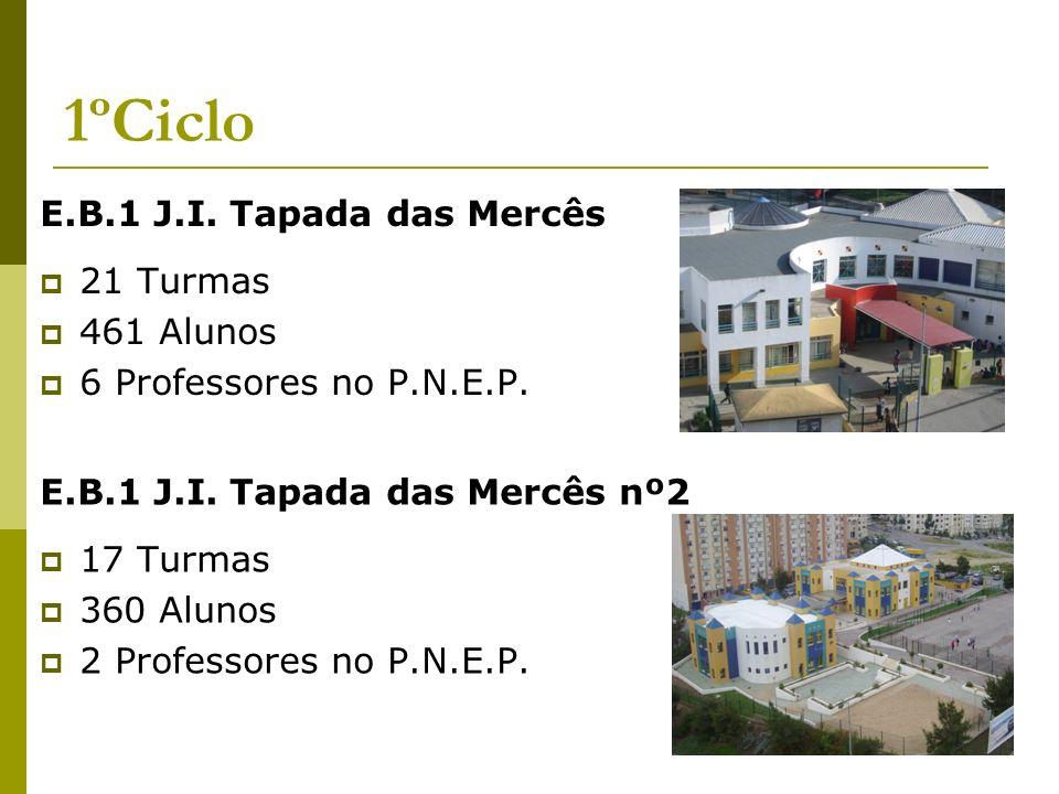 1ºCiclo E.B.1 J.I. Tapada das Mercês 21 Turmas 461 Alunos 6 Professores no P.N.E.P. E.B.1 J.I. Tapada das Mercês nº2 17 Turmas 360 Alunos 2 Professore