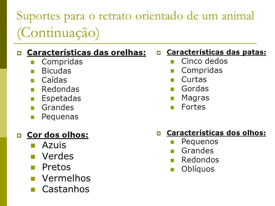 Suportes para o retrato orientado de um animal (Continuação) Características das orelhas: Compridas Bicudas Caídas Redondas Espetadas Grandes Pequenas