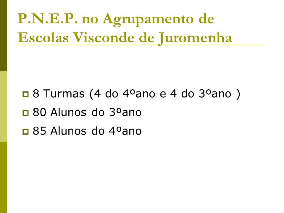 P.N.E.P. no Agrupamento de Escolas Visconde de Juromenha 8 Turmas (4 do 4ºano e 4 do 3ºano ) 80 Alunos do 3ºano 85 Alunos do 4ºano