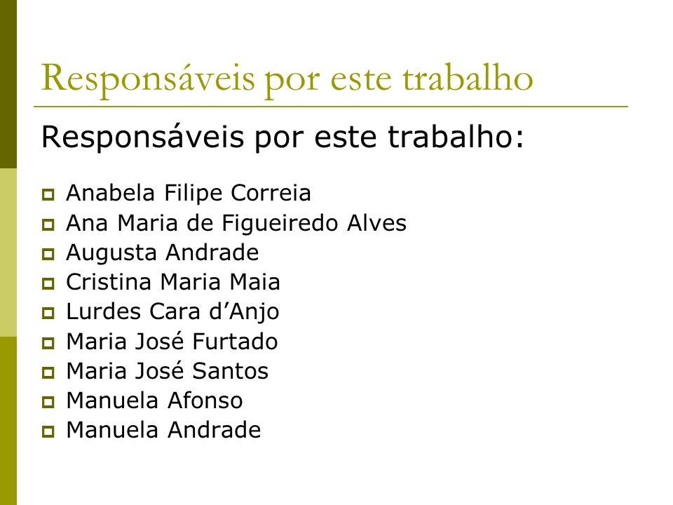 Responsáveis por este trabalho Responsáveis por este trabalho: Anabela Filipe Correia Ana Maria de Figueiredo Alves Augusta Andrade Cristina Maria Mai