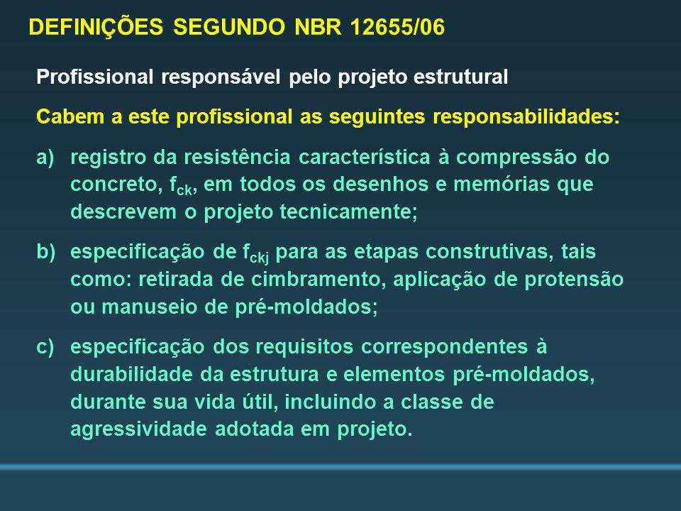 Profissional responsável pelo projeto estrutural Cabem a este profissional as seguintes responsabilidades: a)registro da resistência característica à