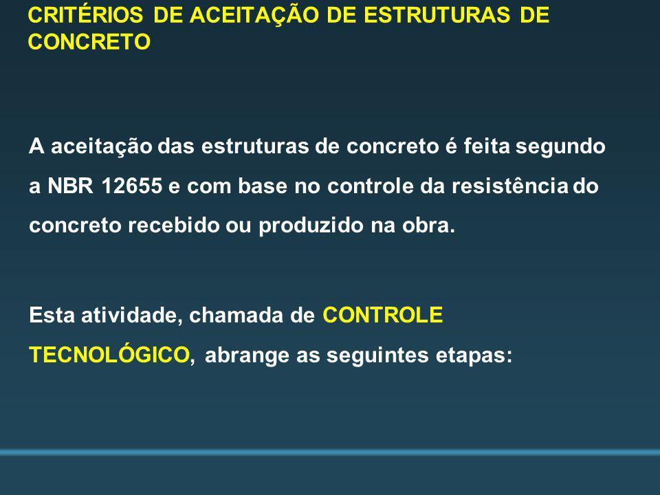 CRITÉRIOS DE ACEITAÇÃO DE ESTRUTURAS DE CONCRETO A aceitação das estruturas de concreto é feita segundo a NBR 12655 e com base no controle da resistên