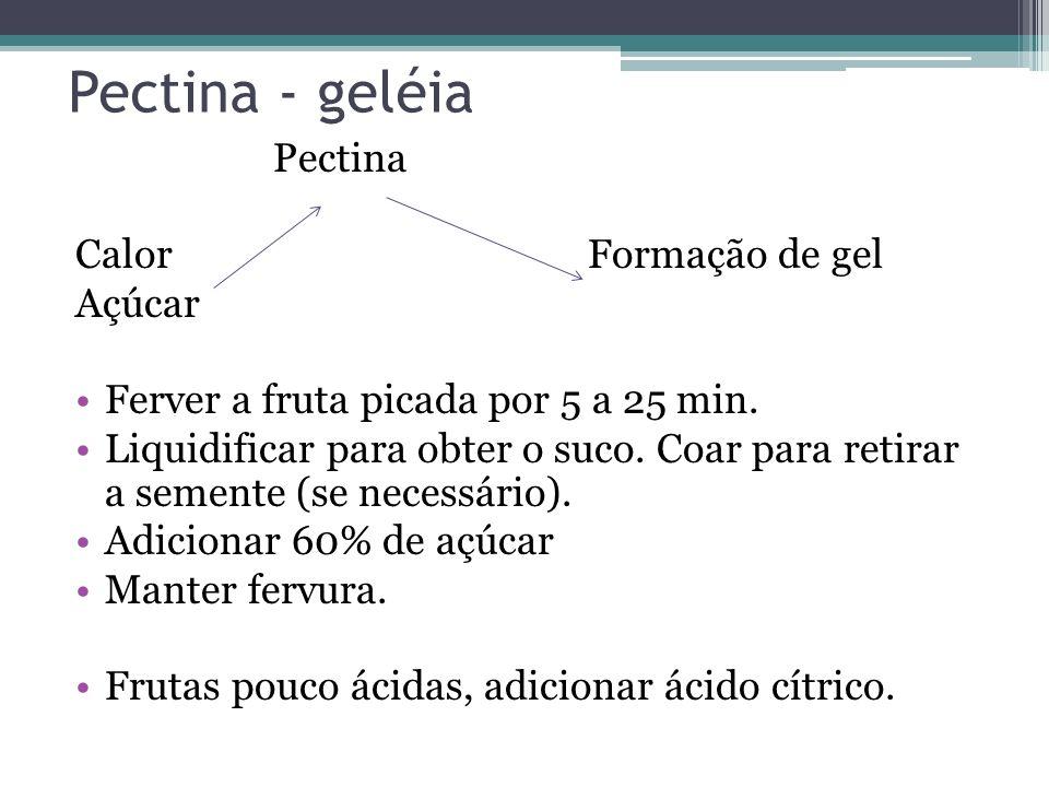 Pectina - geléia Pectina CalorFormação de gel Açúcar Ferver a fruta picada por 5 a 25 min. Liquidificar para obter o suco. Coar para retirar a semente