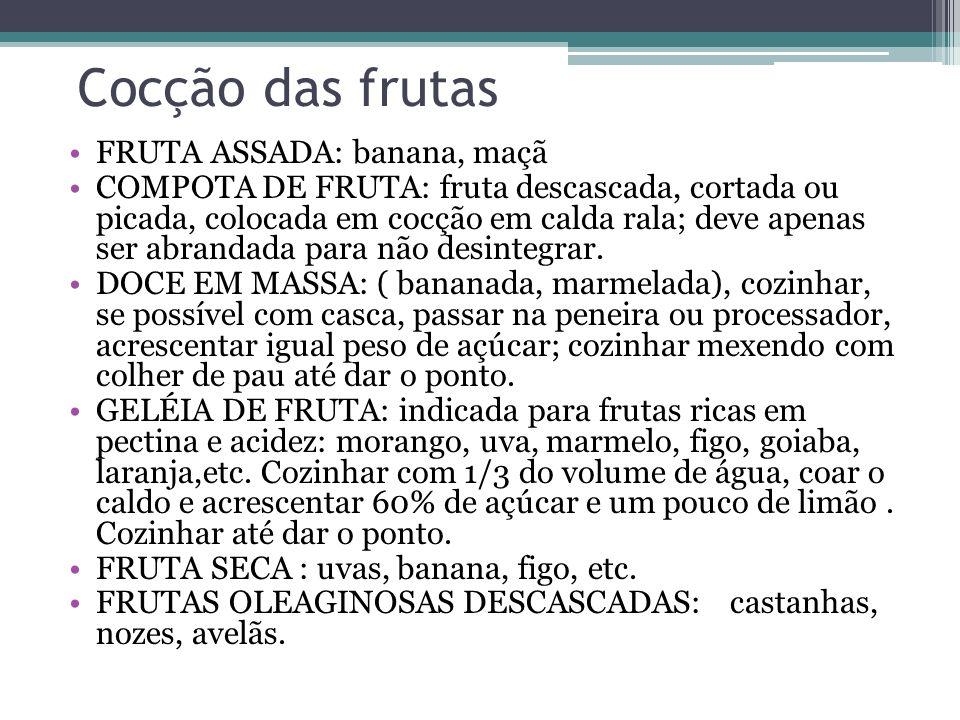 Cocção das frutas FRUTA ASSADA: banana, maçã COMPOTA DE FRUTA: fruta descascada, cortada ou picada, colocada em cocção em calda rala; deve apenas ser