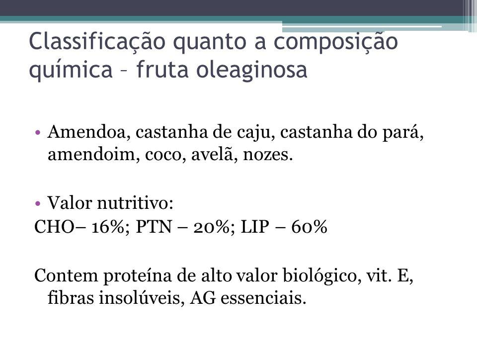 Classificação quanto a composição química – fruta oleaginosa Amendoa, castanha de caju, castanha do pará, amendoim, coco, avelã, nozes. Valor nutritiv