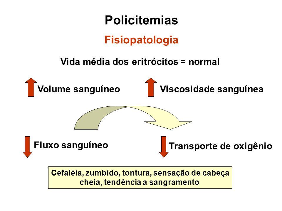 Policitemias Fisiopatologia Vida média dos eritrócitos = normal Volume sanguíneoViscosidade sanguínea Fluxo sanguíneo Transporte de oxigênio Cefaléia,