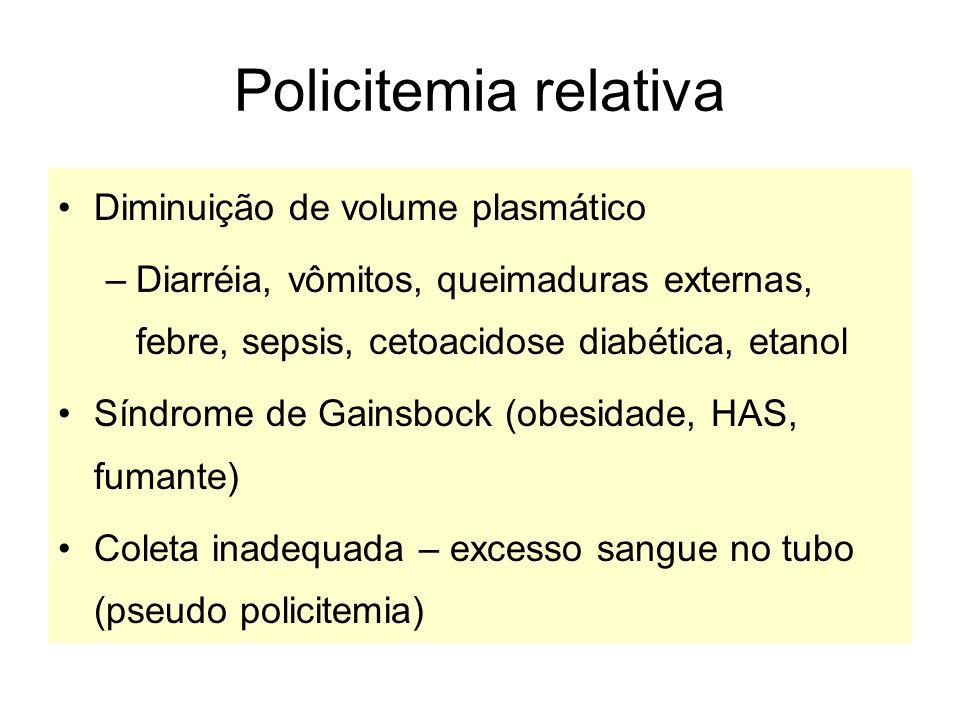 Policitemia relativa Diminuição de volume plasmático –Diarréia, vômitos, queimaduras externas, febre, sepsis, cetoacidose diabética, etanol Síndrome d