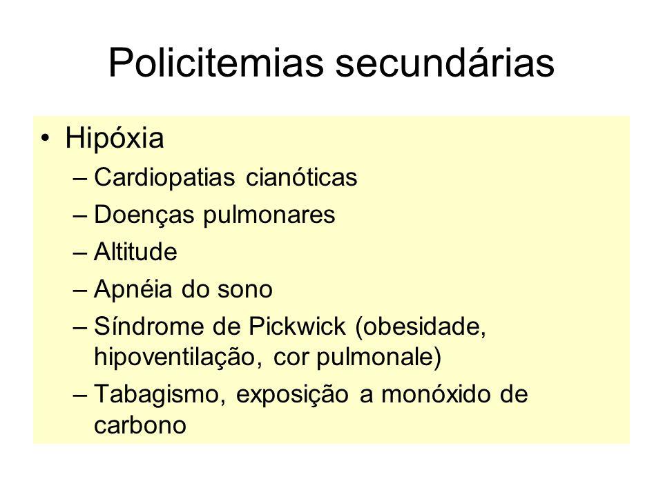 Policitemias secundárias Hipóxia –Cardiopatias cianóticas –Doenças pulmonares –Altitude –Apnéia do sono –Síndrome de Pickwick (obesidade, hipoventilaç