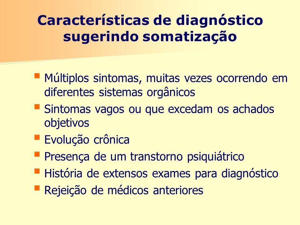 Características de diagnóstico sugerindo somatização Múltiplos sintomas, muitas vezes ocorrendo em diferentes sistemas orgânicos Sintomas vagos ou que