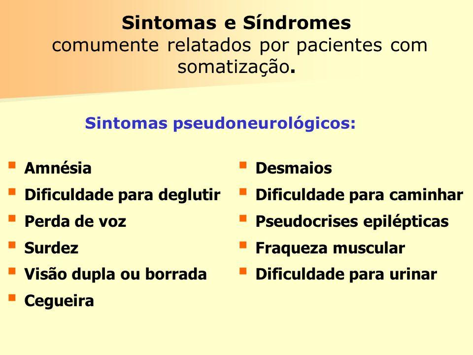 Sintomas e Síndromes comumente relatados por pacientes com somatização. Amnésia Dificuldade para deglutir Perda de voz Surdez Visão dupla ou borrada C