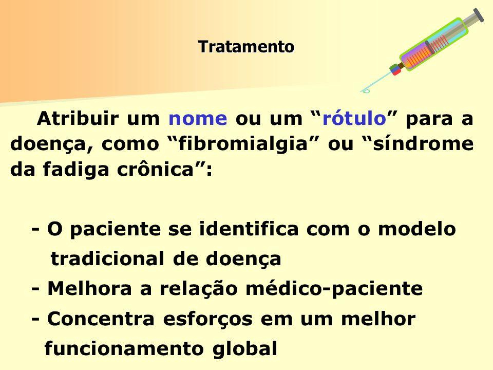Tratamento Atribuir um nome ou um rótulo para a doença, como fibromialgia ou síndrome da fadiga crônica: - O paciente se identifica com o modelo tradi