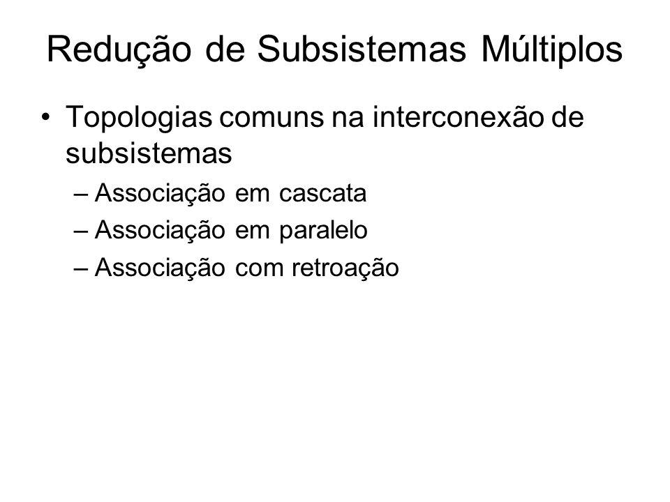 Topologias comuns na interconexão de subsistemas –Associação em cascata –Associação em paralelo –Associação com retroação