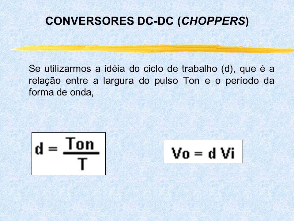 Se utilizarmos a idéia do ciclo de trabalho (d), que é a relação entre a largura do pulso Ton e o período da forma de onda, CONVERSORES DC-DC (CHOPPER