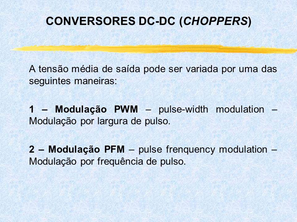 A tensão média de saída pode ser variada por uma das seguintes maneiras: 1 – Modulação PWM – pulse-width modulation – Modulação por largura de pulso.