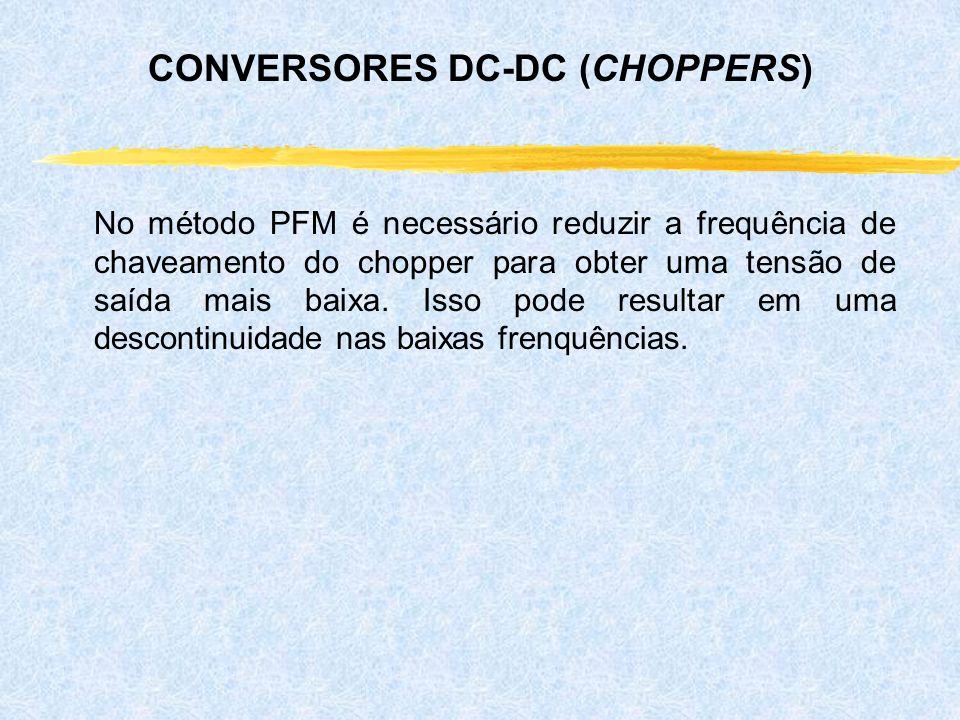 No método PFM é necessário reduzir a frequência de chaveamento do chopper para obter uma tensão de saída mais baixa. Isso pode resultar em uma descont