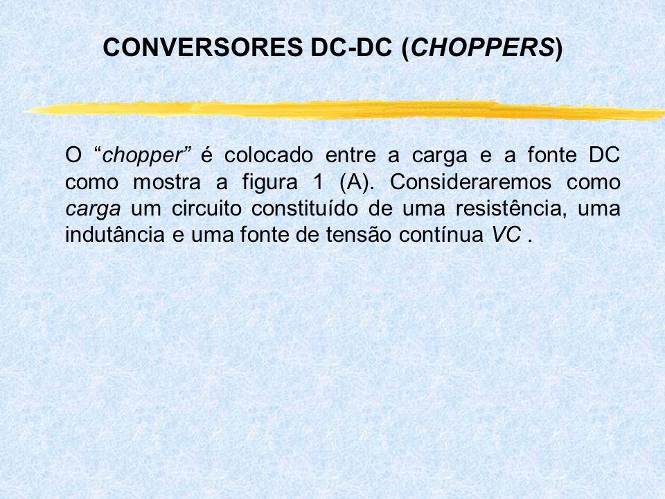 O chopper é colocado entre a carga e a fonte DC como mostra a figura 1 (A). Consideraremos como carga um circuito constituído de uma resistência, uma