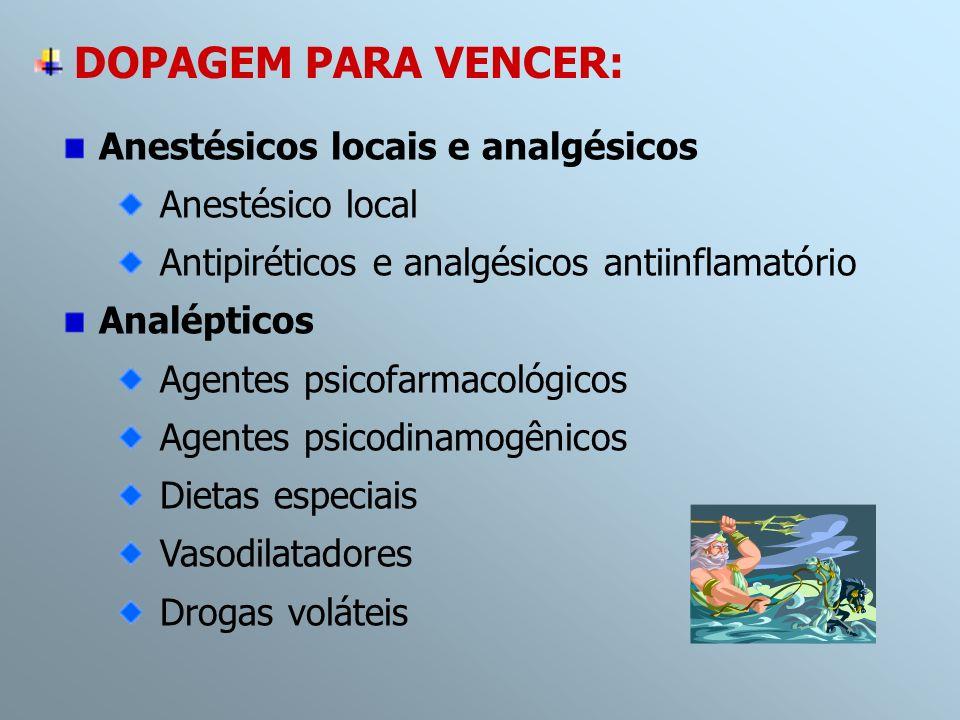 Anestésicos locais e analgésicos Anestésico local Antipiréticos e analgésicos antiinflamatório Analépticos Agentes psicofarmacológicos Agentes psicodi