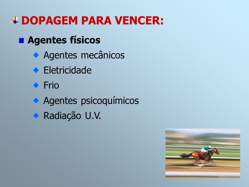 Agentes físicos Agentes mecânicos Eletricidade Frio Agentes psicoquímicos Radiação U.V. DOPAGEM PARA VENCER: