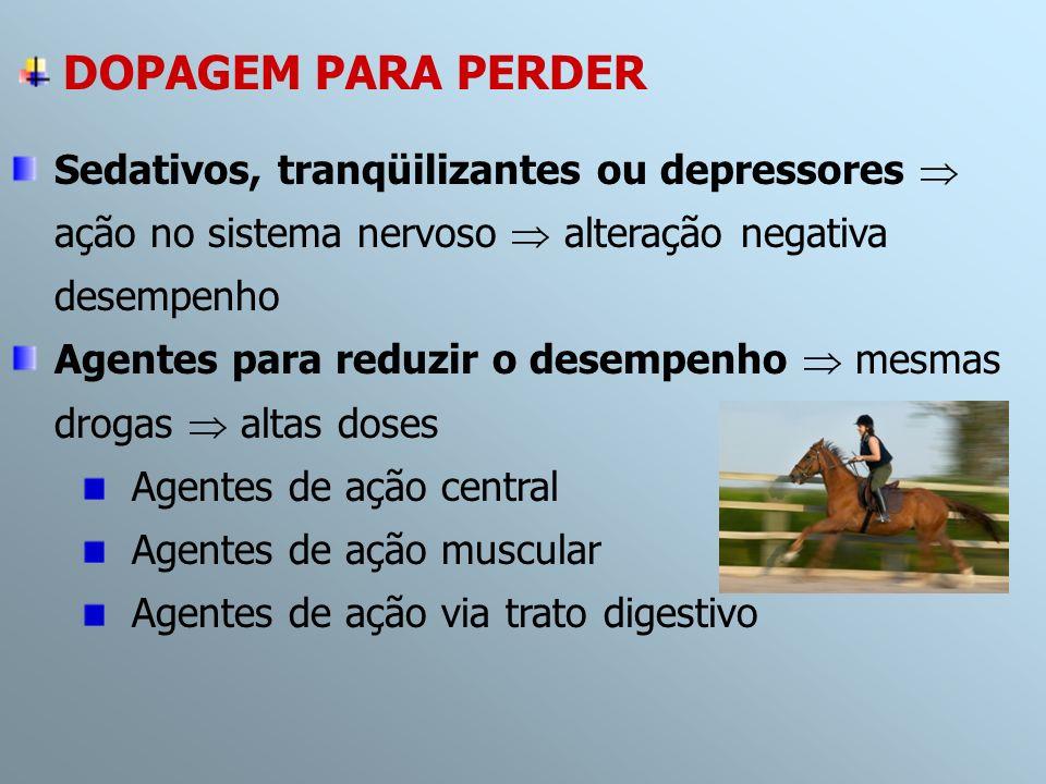 DOPAGEM PARA PERDER Sedativos, tranqüilizantes ou depressores ação no sistema nervoso alteração negativa desempenho Agentes para reduzir o desempenho