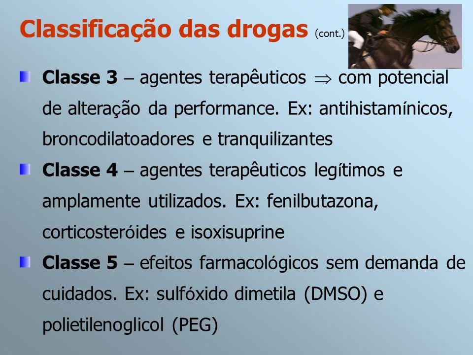 Classe 3 – agentes terapêuticos com potencial de altera ç ão da performance. Ex: antihistam í nicos, broncodilatoadores e tranquilizantes Classe 4 – a