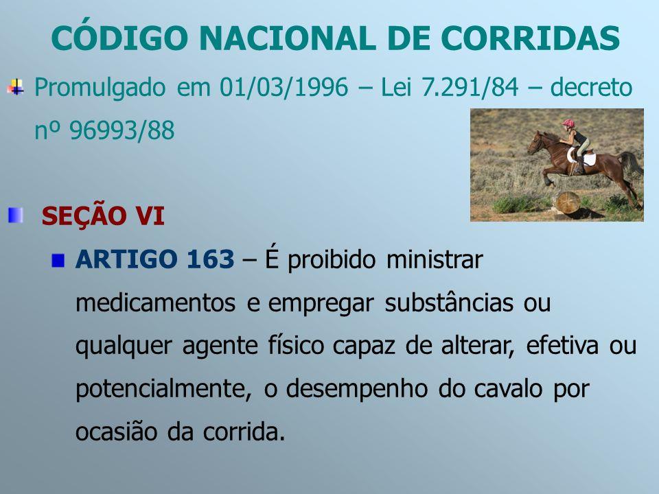 Promulgado em 01/03/1996 – Lei 7.291/84 – decreto nº 96993/88 SEÇÃO VI ARTIGO 163 – É proibido ministrar medicamentos e empregar substâncias ou qualqu