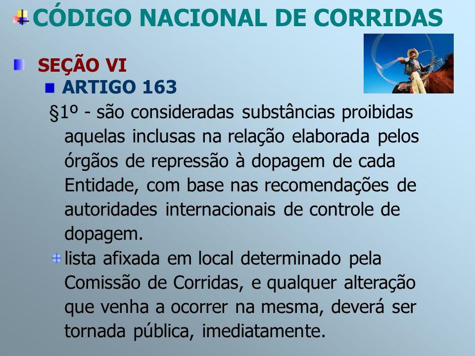 SEÇÃO VI ARTIGO 163 §1º - são consideradas substâncias proibidas aquelas inclusas na relação elaborada pelos órgãos de repressão à dopagem de cada Ent